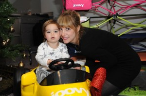 Lindsay Sloane and her daughter Maxwell at Santas Secret Workshop
