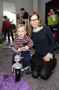 Lisa Loeb with her son Emet at Santas Workshop
