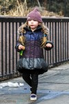 Loretta Broderick walking home from school
