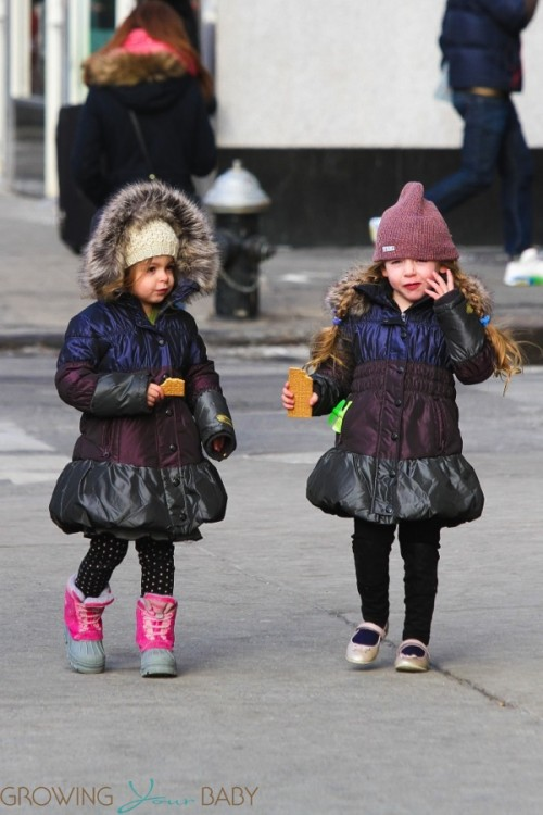 Loretta and Tabitha Broderick walking home from school