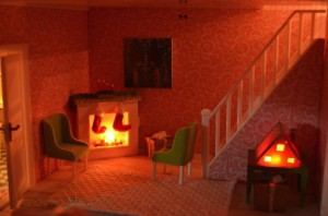 Lundby smaland  - holiday fireplace set