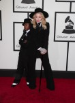 Madonna and son David at the 56th annual Grammy Awards