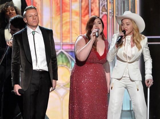 Madonna onstage at the Grammy's with Macklemore