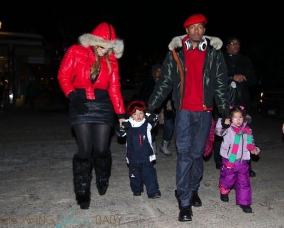 Mariah Carey, Nick Cannon, Moroccan Cannon, Monroe Cannon stroll in Aspen
