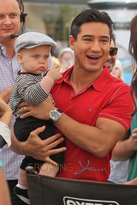 Elizabeth Berkely Catches Up With Mario Lopez At The Grove