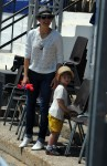 Marion Cotillard with son Marcel Canet at Cannes during the International show jumping