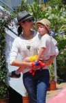 Marion Cotillard with son Marcel Canet in Cannes during the International show jumping