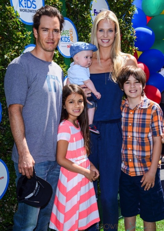 Mark-Paul Gosselaar and Catriona Mcginn with kids Ava ,Michael ,Dekker at Safe Kids Day in Los Angeles