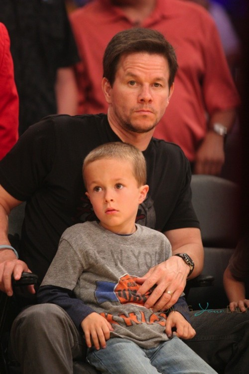 Mark Wahlberg sits courtside at the Lakers Game with son Brendan