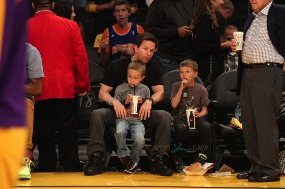 Mark Wahlberg sits courtside at the Lakers Game with sons Brendan and Michael