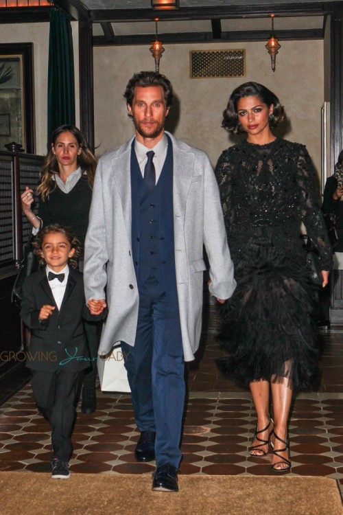 Matthew McConaughey and Camila Alves depart their hotel with son Levi