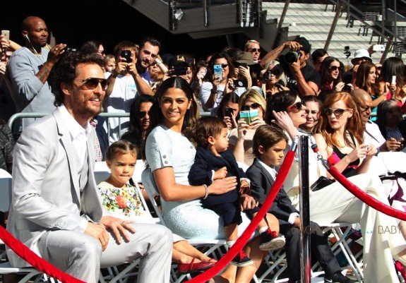 Matthew McConaughey at walk of fame star ceremony with wife Camila, and kids Levi, Livingston and Vida