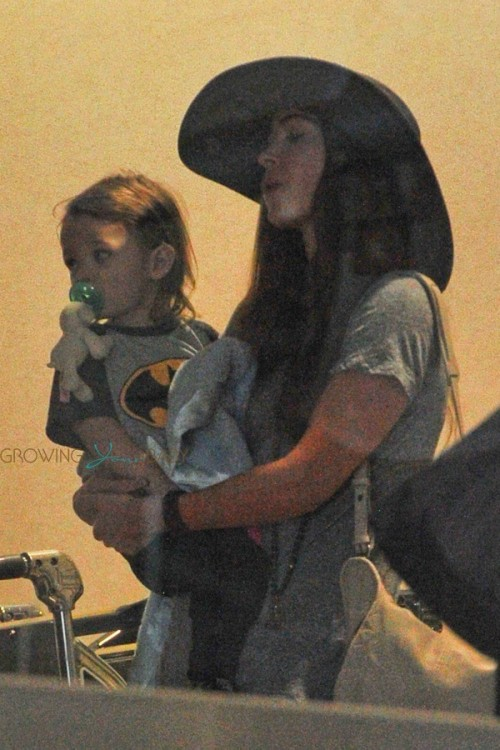 Megan Fox at LAX with son Noah Shannon Green