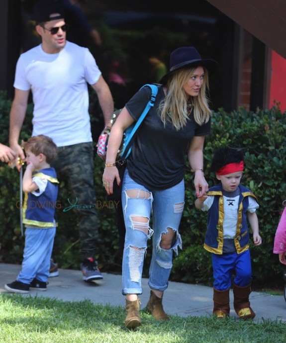 Mike Comrie & Hilary Duff with son Luca Comrie, who dressed up as a pirate for Church Halloween event
