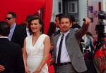 Milla Jovovich shows off her growing baby belly @ the premiere of Cymbeline