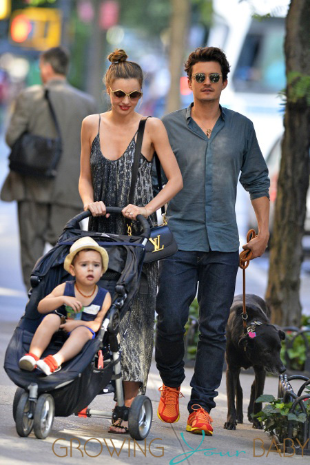 Orlando Bloom and Miranda Kerr bring baby Flynn to Central Park in New York City