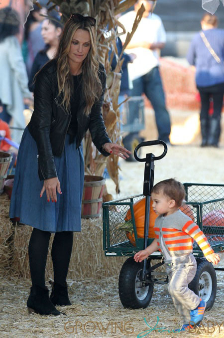 Molly Sims and son Brooks Stuber at Mr. Bones Pumpkin Patch