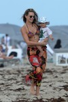 Molly Sims and son Brooks Stuber at the beach in Miami