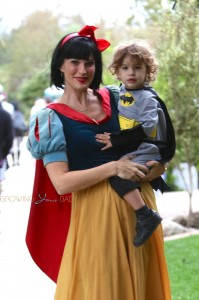Molly Sims seen dressed up with her son Brooks, who dressed as Batman for the Halloween in Brentwood, Los Angeles