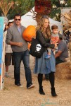 Molly Sims with husband Scott and son Brooks Stuber at Mr. Bones Pumpkin Patch