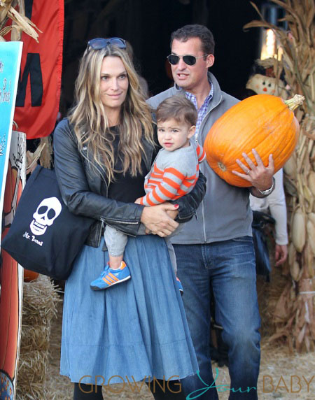 Molly Sims with husband Scott & son Brooks Stuber at Mr. Bones Pumpkin Patch