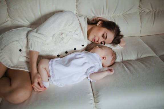 Mom and baby sleeping sofa