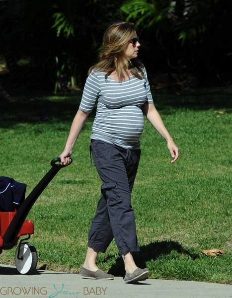 Mom-to-be Jenna Fischer strolls with her son Weston in LA