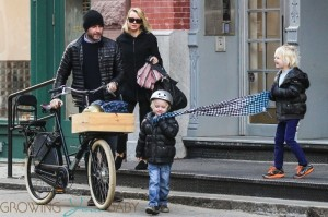 Naomi Watts and Liev Schreiber out in New York City with his sons Sam and Sasha