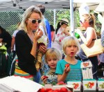Naomi Watts at the farmer's market with sons Sasha and Sammy