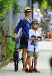 Naomi Watts with son Sasha biking home from the brentwood market