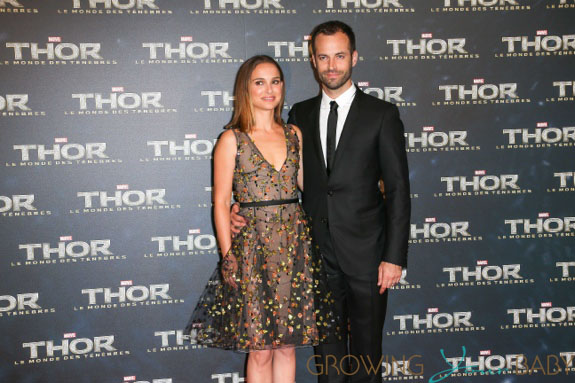 Natalie Portman and Benjamin Millipied at the THOR premiere