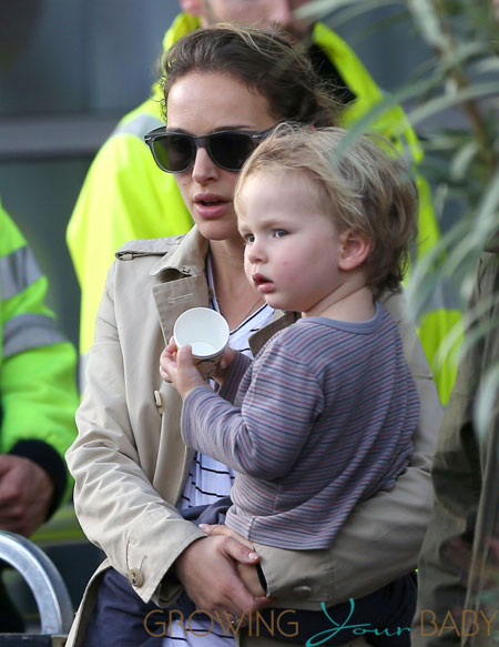 Natalie Portman arrives at Le Bourget airport in Paris with her son Aleph Millepied