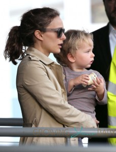 Natalie Portman with son Aleph at the airport in Paris