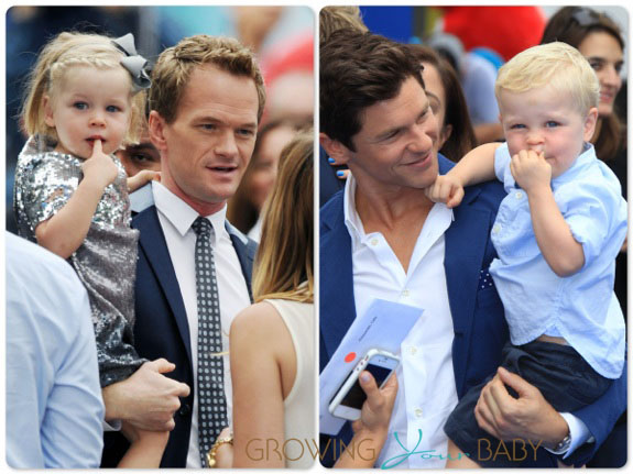 Neil Patrick Harris and David Burtka with twins Harper and Gideon at Smurfs 2 premiere