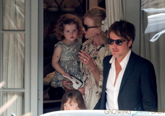 Nicole Kidman and Keith Urban Attend her parents anniversary with girls Sunday and Faith