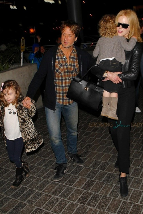 Nicole Kidman and Keith Urban at LAX with their girls Sunday And Faith