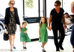 Nicole Kidman  and Keith Urban with their daughters Faith and Sunday at Sydney airport