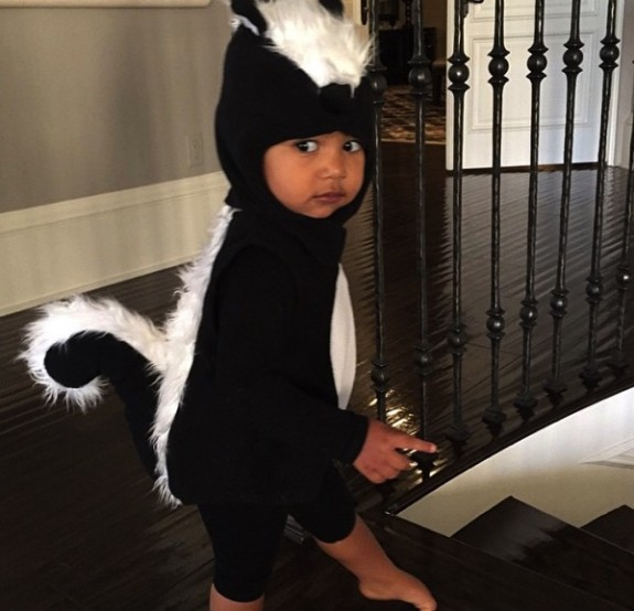 North West dressed as a skunk for Halloween