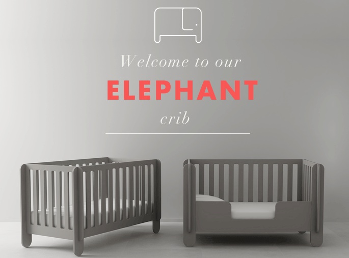 Oeuf NYC Elephant convertible Crib - Grey