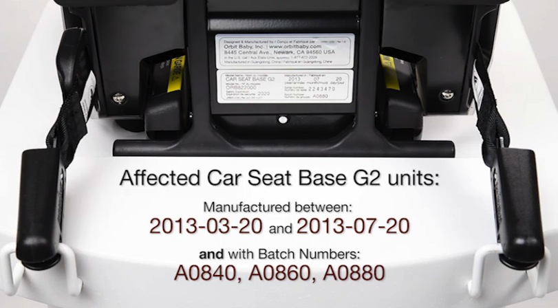 Orbit Baby Car Seat Base recall