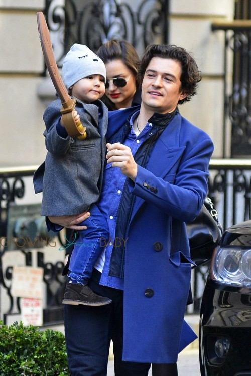 Orlando Bloom & Miranda Kerr out in NYC with their son Flynn
