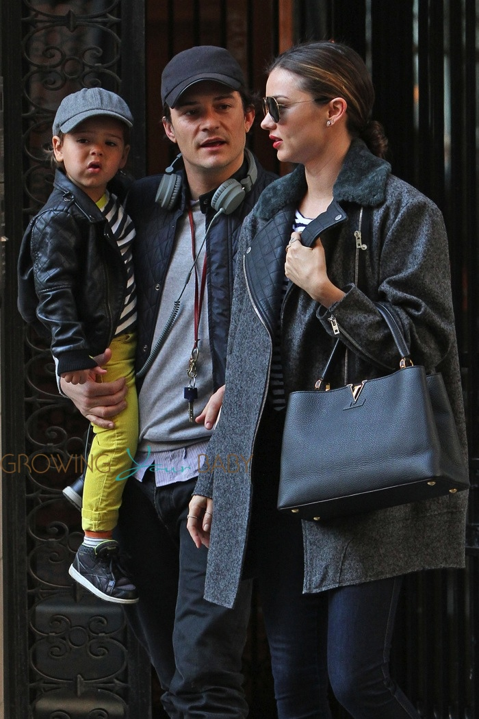 Orlando Bloom and Miranda Kerr take their son Flynn for a walk together