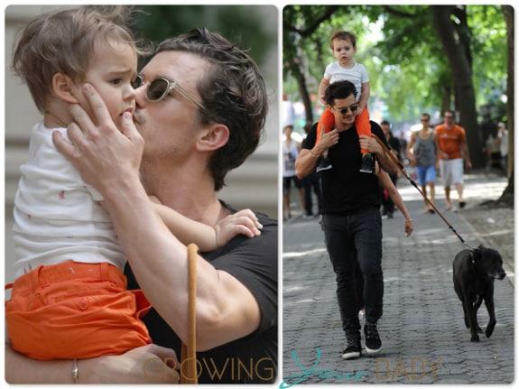 Orlando Bloom and son Flynn stroll in Central Park