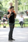 Orlando Bloom and Flynn Bloom Take Dog Sidi Out Through Central Park