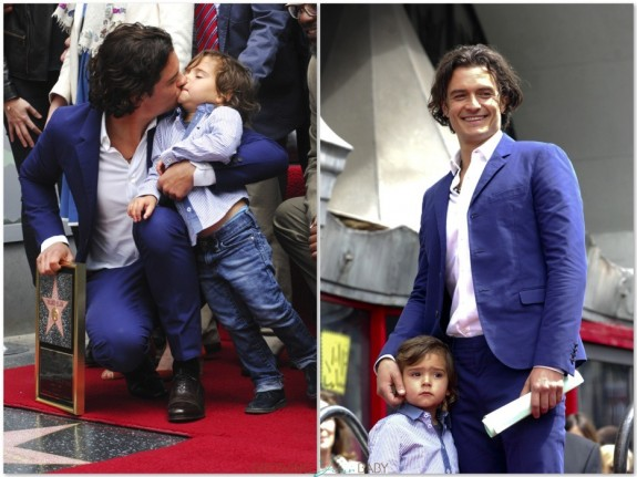 Orlando Bloom with his son Flynn at Hollywood Walk of Fame Star ceremony LA
