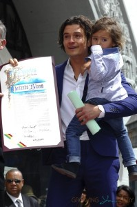 Orlando Bloom with his son Flynn at Hollywood Walk of Fame Star ceremony, LA