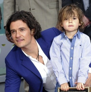 Orlando Bloom Shares The Walk Of Fame Spotlight With Son Flynn