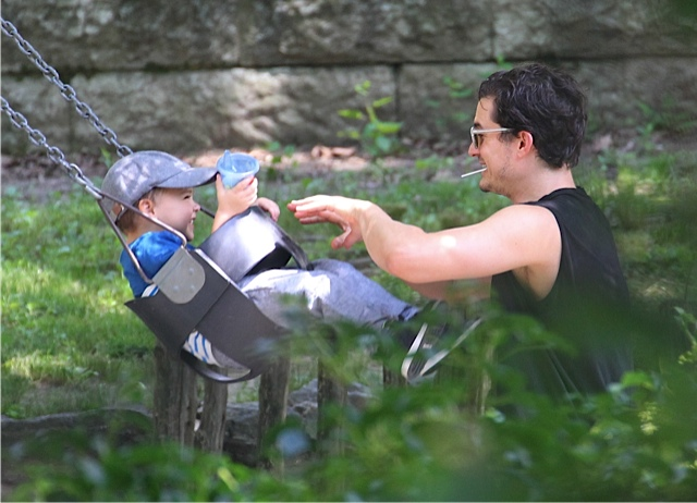 Orlando Bloom with son Flynn at the park in NYC