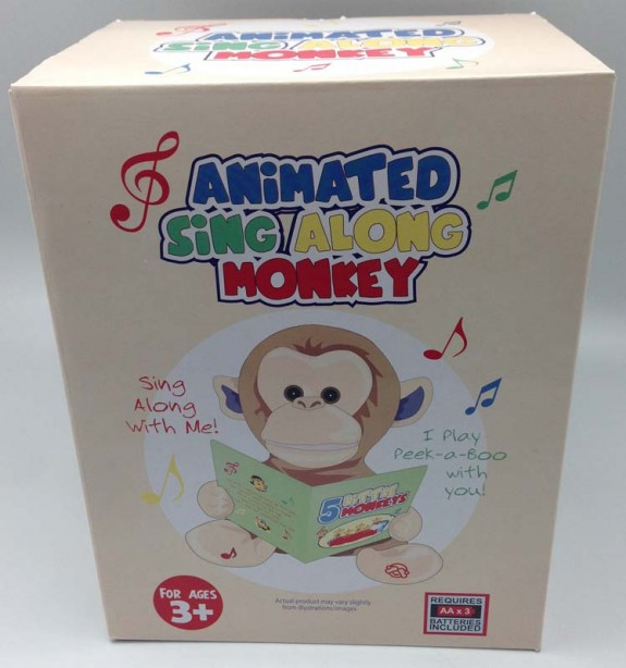 Packaging for the Giggles International Animated Sing-Along Monkey