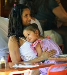 Padma Lakshmi seen baby daughter, Krishna Thea Lakshmi-Dell seen eating at Bar Pitti restaurant in New York City